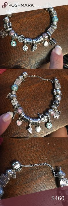 Pandora bundle bracelet and 17 charms I have a Pandora bracelet that 6.5 inches and it comes with all 17 except for the friend one which I point in pics which is a butterfly. there are 2 butterflies. Howeverthe friend butterfly will not send. It's also safety charm and to heart clips   This is an authentic bracelet And i will NOT separate. The ones that you don't want And can't use you can sell on your own to make a profit. I will not answer to questions about separate charms. Basically 20 a…