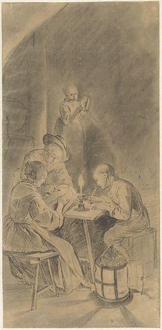 Willem Joseph Laquy: onderwijs bij kaarslicht. Tekening. ca. 1765 - ca. 1770. Uit Drieluik met allegorie op het kunstonderwijs. Rijksmuseum, Amsterdam. Naar het drieluik van Gerard Dou dat in 1771 verloren is gegaan.