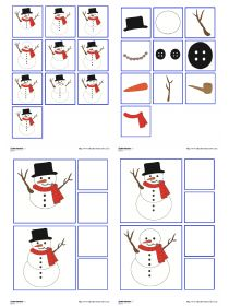 A game of observation and visual discrimination with a snowman. Thema Winter Im Kindergarten, Kindergarten Lesson Plans, Preschool Winter, Winter Activities For Kids, Christmas Activities, Winter Project, Theme Noel, Montessori Activities, Winter Theme