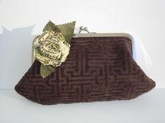 Clutch purse chocolate brown handbag kiss by NancyEllenStudios, $24.00 https://www.etsy.com/treasury/NTM5ODkzNXwyNzI0MjMxMjY1/chocolate-strawberry-and-cream
