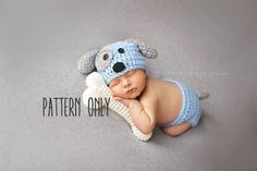 CROCHET PATTERN ONLY, NOT THE FINISHED PRODUCT.    This listing includes patterns for the hat, diaper cover and bone.        Like this set