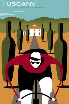 Tuscany - For the cycling & wine aficionado. http://www.hypercat.com/cyclingartwork/michael_valenti_cycling_artwork_tuscany_print.html