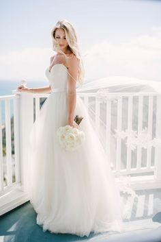 Ethereal Bridal Portraits Overlooking the Ocean | Vitaly M Photography | Black Tie Coastal Wedding with Classic Beach Details