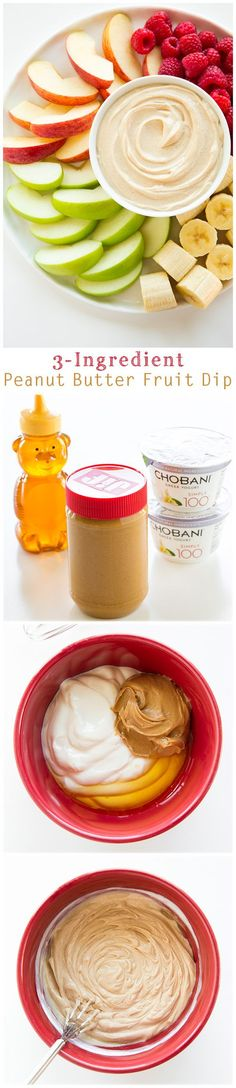 Clean Eating Peanut Butter Fruit Dip - only THREE ingredients (use raw, unfiltered honey!)