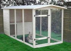 homemade outdoor dog kennels, could double as chicken run or rabbit hutch and r… – dog kennel outdoor Dog Enclosures, Cat Enclosure, Diy Dog Kennel, Dog Kennels, Kennel Ideas, Husky Kennel, Dog Cage Outdoor, Outdoor Dog Kennel, Dog Yard