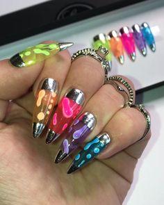 Edgy Nails, Funky Nails, Stylish Nails, Funky Nail Art, Halloween Acrylic Nails, Cute Acrylic Nails, Almond Acrylic Nails, Almond Nails, Rave Nails
