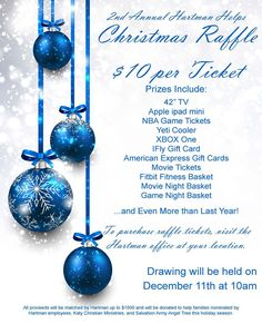 Help families this Christmas by joining us in our 2nd Annual Hartman Helps Raffle! The tickets are $10 and can be purchased at any of our management offices through December 9th. #hartmanhelps