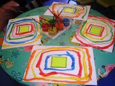 Shape in the middle and then children copy the shape making it larger each time. Preschool Art, Kindergarten Activities, Preschool Activities, Teaching Shapes, Montessori Art, Pre Writing, Art Plastique, Fine Motor Skills, Art Education