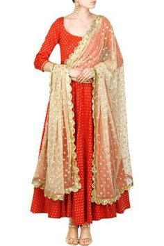 Abhinav Mishra | Candy red floral chanderi silk anarkali with a deep scoop back…