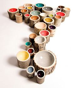 Loyal Loot log bowls - lathed and hand-painted, come in a variety of sizes and wood types - $34 - $100 - really cool! I could see them as a wall installation, or even as sculpture on the floor if they were tall enough!