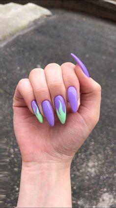 Summer Acrylic Nails, Best Acrylic Nails, Pastel Nails, Purple Nails, Violet Nails, Simple Acrylic Nails, Aycrlic Nails, Nail Manicure, Manicure Ideas