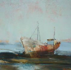 Red Trawler. 22 x 22cm Oil on Board