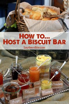 to Host a Biscuit Bar Hosting a Biscuit bar is a fun and different way to feed guests at your next party!Hosting a Biscuit bar is a fun and different way to feed guests at your next party! Brunch Recipes, Breakfast Recipes, Bar Recipes, Brunch Party Foods, Breakfast Ideas, Breakfast Parties, Aloo Recipes, Brunch Food, Milk Recipes