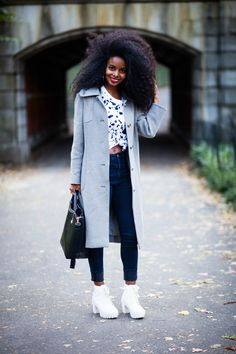 fashion, street style, winter inspiration, cropped top, afro hair, black women, grey coat