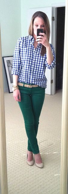 Not like I need more green in my wardrobe, but I NEED these skinnies/this outfit (From What She Wore 365)