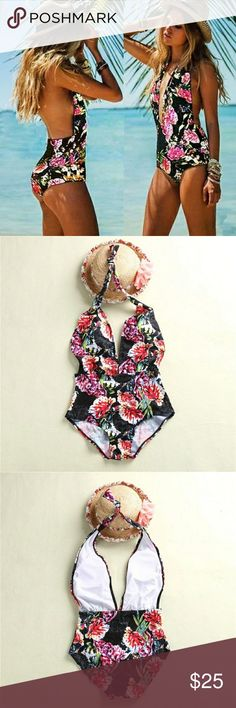 """Halter Floral One Piece Swimsuit Imported  Materials: Polyester, Spandex   Padded Bra  Size and Measurements:  Small:  Bust: 32""""-34"""" Waist: 24""""-26"""" Hips: 34""""-36""""  Medium:  Bust: 34""""-36"""" Waist: 26""""-28"""" Hips: 36""""-38""""  Large:  Bust: 36""""-38"""" Waist: 28""""-30"""" Hips: 38""""-40""""  XLarge: Bust: 38""""-40"""" Waist: 30""""-32"""" Hips: 40""""-42"""" LuxuryFAB  Swim One Pieces"""