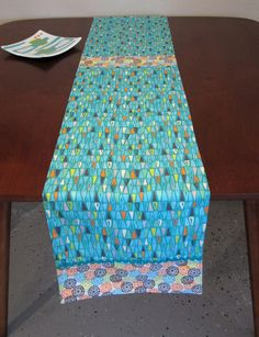 Retro Mid Century Style Atomic Abstract Geometric Table Runner, Hand Made by Tiki Queen