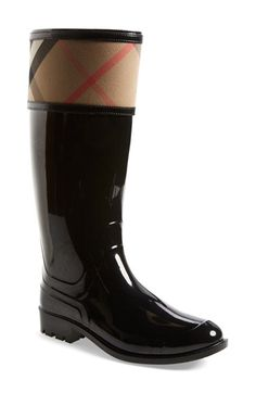 Free shipping and returns on Burberry 'Crosshill' Rain Boot (Women) at Nordstrom.com. A puddle-proof boot is sleek and stylish with a riding silhouette and signature checks.