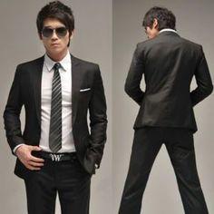 Men Full dress Casual Black Slim-fit Suit jacket