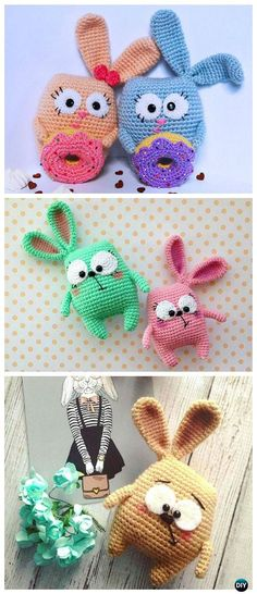 Crochet Amigurumi Bunny with Donut Toy Free Patterns