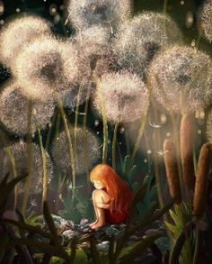Make a wish 🙃💜. Art by Emilia Dziubak. Art Fantaisiste, Art Mignon, Art Anime, Art Et Illustration, Fairytale Art, Inspiration Art, Flower Fairies, Fairy Art, Whimsical Art