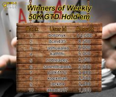 Congratulations to all the winners of weekly GTD Tournaments