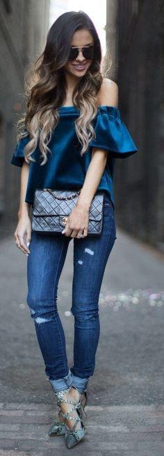 #spring #fashion | Off the Shoulder Sapphire Velvet Top + Ripped Denim |Mia Mia Mine