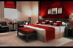 Red and brown bedroom red and brown bedroom ideas photo 1 red and brown living room . Gray Red Bedroom, Red Bedroom Design, Red Bedroom Decor, Black Room Decor, Silver Bedroom, Black Rooms, Red Rooms, Bedroom Ideas, Red Master Bedroom