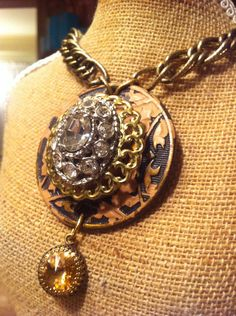 Vintage Drawer Pull Escutcheon with Rhinestone Brooch Necklace  on Etsy, $52.00