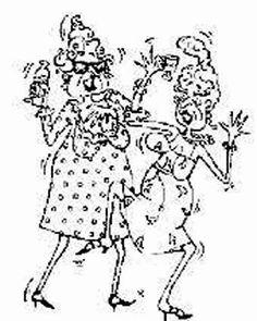 Dancing Senior Ladies -  Unmounted Red Rubber Stamp - I Brake for Stamps