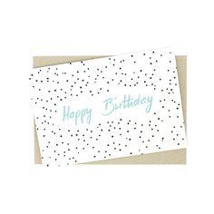 Glückwunschkarten - Klappkarte - happy birthday mit Punkten - ein Designerstück von lumilarie bei DaWanda