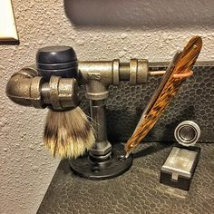 Industrial Straight Razor & Shave Brush shaving by BROlsonDesign