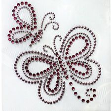 Korea and Rhinestone Transfer Hot fix Motif Fashion Design Butterfly lt pink