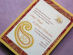 Red Indian Paisley Wedding Invitation Handmade by CoolHot by Kemba Celebrations, via Flickr