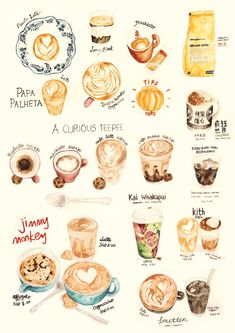 Watercolor Illustration - Coffee Collection Print No.2. ((so amazing))