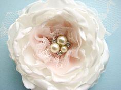 Bridal Silk Flower hair clip or sash pin Wedding hair by Cultivar