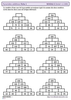 10 fiches autocorrectives avec des pyramides additives de niveau 2 (résultat supérieur à 100) Mental Maths Worksheets, Maths Puzzles, Math Activities, Math Tutor, Teaching Math, Math For Kids, Fun Math, Abacus Math, Montessori Math