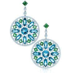 Tiffany & Co Aquamarine and Green Tourmaline Earrings