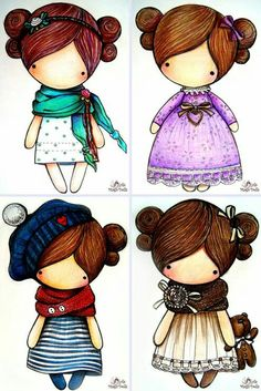 ru / Spring series - Scheme for sketches Magic__ Dolls - kat-gafenko Art Mignon, Copics, Digital Stamps, Cute Illustration, Rock Art, Cute Cartoon, Cute Drawings, Paper Dolls, Cute Art