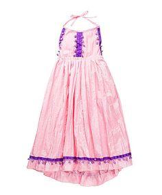 Look at this #zulilyfind! Light Pink Pom-Pom Halter Dress - Girls #zulilyfinds