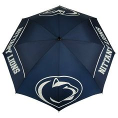 NCAA Penn State Nittany Lions 62-Inch WindSheer Hybrid Umbrella by Team Effort. $39.90. 190T nylon cover and sheath in vivid collegiate team colors. 4 eye-catching collegiate trademarks printed over multiple panels. Two-color 100% rubber handle with dual-density grip is designed to fit comfortably in your hand or securely in your push cart. Rustproof FRP double rib frame with patented U-shaped joint hinge. Patented Wind-Release System allows wind to escape betw...