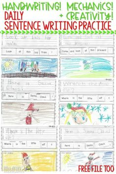 kindergarten handwriting practice and sentence writing! Looking for (simple!) ways to help your students work on their writing skills? Check out these kindergarten handwriting worksheets and sentence mechanics resources! FREE file too! Kindergarten Writing Activities, Kindergarten Handwriting, Spelling And Handwriting, Improve Your Handwriting, Improve Handwriting, Handwriting Practice, Free Handwriting, Kindergarten Classroom, Classroom Decor