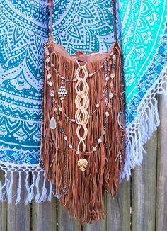 Handmade Brown Leather Fringe Cross Body Bag Hippie Boho Hobo Gypsy Purse B.Joy | eBay