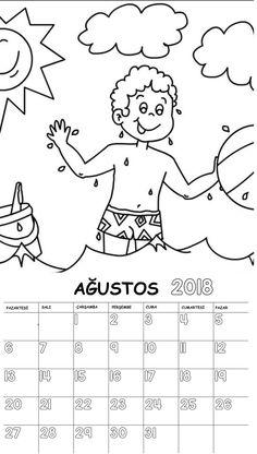 Okul Öncesi 2018 Boyama Sayfalı Takvimi - Okul Öncesi Etkinlik Faliyetleri - Madamteacher.com Math For Kids, Diy For Kids, Preschool Painting, Kids Calendar, Drawing For Kids, School Projects, Preschool Activities, 30, Montessori