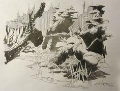 tiger and girl by Tom Grindberg Comic Art
