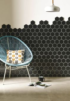 Hera dark metallic glass hexagon mosaic tiles come on a sheet for easy application. The dark grey colour is dramatic - perfect for a statement or feature wall in a bathroom or shower. www.originalstyle.com