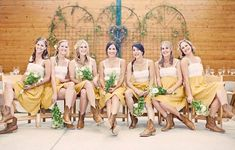 9. Country Rustic Shoes…    Photo CreditWhat's a country rustic wedding without your cowgirl boots?! I love when bridesmaids wear cowgirl boots with their tea length …