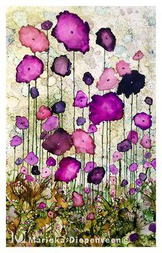 Purple flowers alcohol ink
