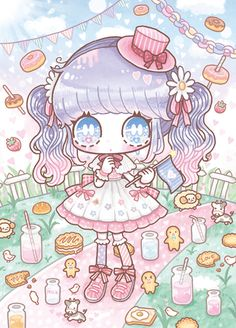 Secret of Girl / ©Shimaminami - commelui Art Kawaii, Kawaii Doodles, Kawaii Chibi, Cute Chibi, Kawaii Anime Girl, Kawaii Wallpaper, Cute Wallpaper Backgrounds, Cute Wallpapers, Anime Chibi
