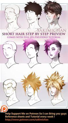 Short hair tutorial pack by sakimichan.deviantart.com on @DeviantArt